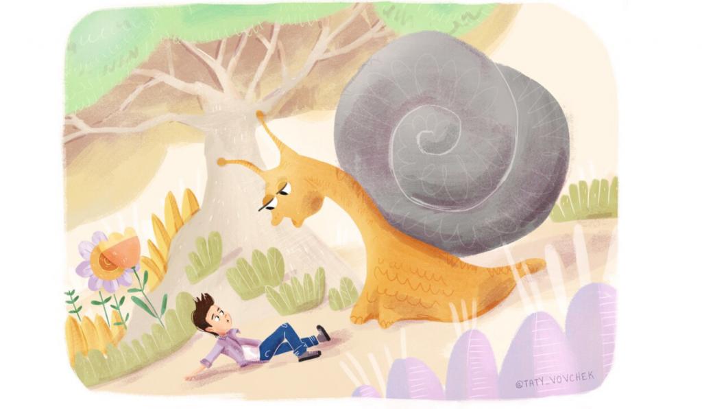 Un enfant est face à un escargot plus grand que lui : il a rétréci