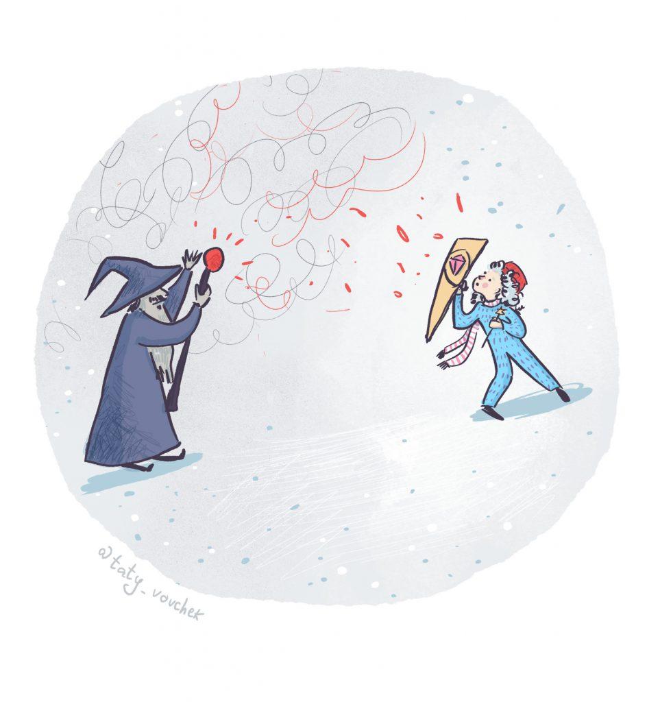 Une petite fille brandit devant elle un bouclier tandis qu'en face d'elle, le magicien la menace de son sceptre en faisant des incantations.