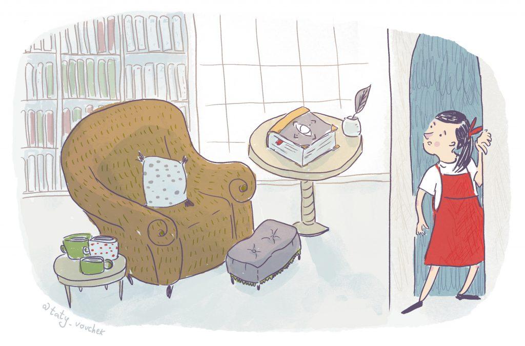 Une petite fille passe la porte d'un salon. Elle y trouve un fauteuil marron, de nombreuses tasses sur une table basse. Une bibliothèque est adossée au mur du fond, et un épais livre est posé, fermé sur une table, à côté d'un encrier.
