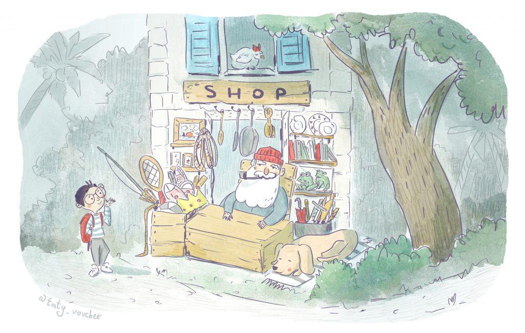 Un petit garçon se trouve devant la boutique d'un vieil homme qui porte une longue barbe, un bonnet rouge et qui fume la pipe.