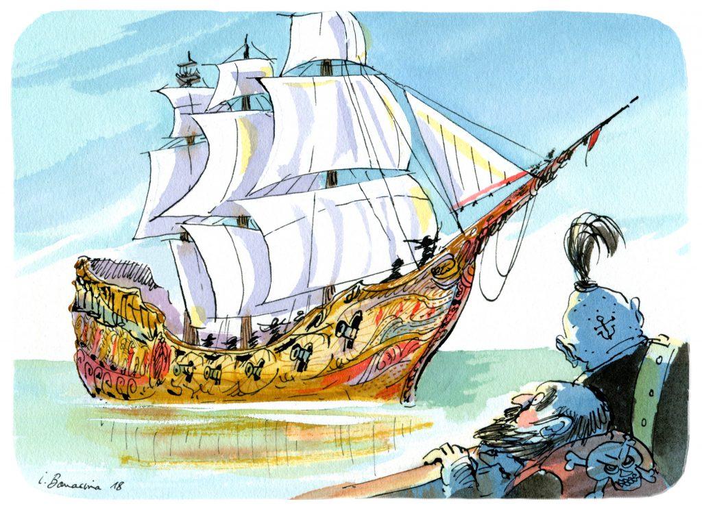 Un grand et beau bateau est vu par deux pirates à bord de leur propre bateau.