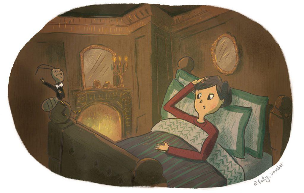 Une jeune fille est au lit dans une chambre éclairée par un feu de cheminé. Sur le bord du lit, une fourmi en costume de majorette lui parle.