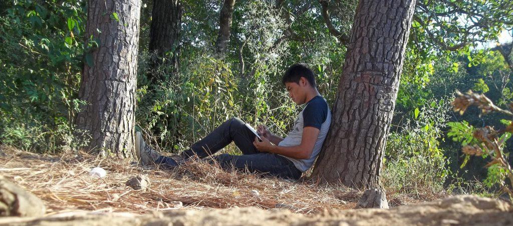 Un jeune homme est assis contre un arbre en lisière de forêt. Il est concentré sur ce qu'il écrit dans son carnet.