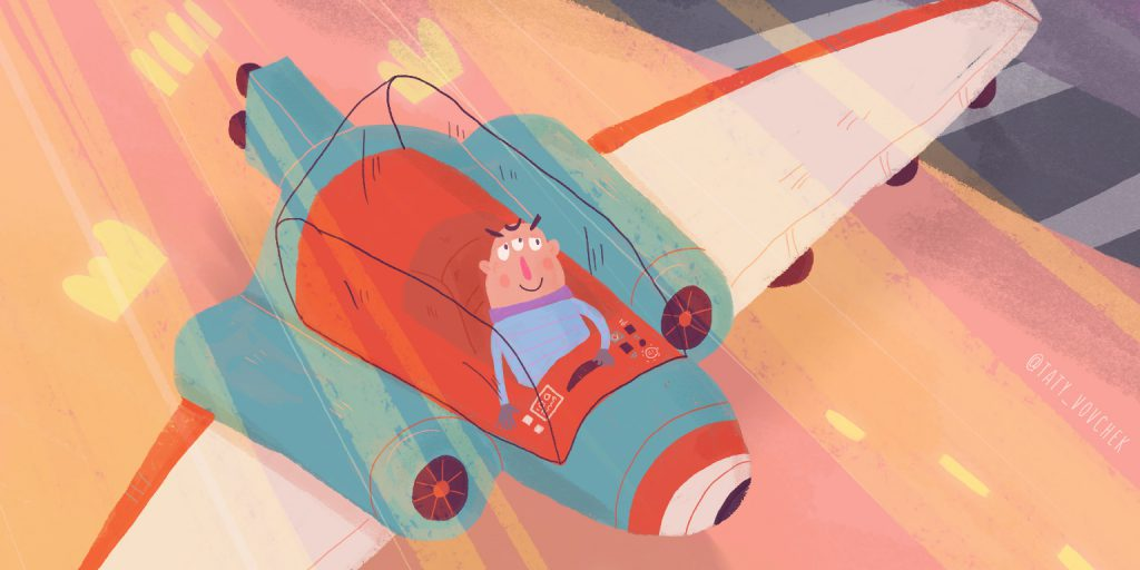 Un être vivant ressemblant à un homme à trois yeux conduisant, ce qui ressemble à un vaisseau spatial, avec des ailes blanches, l'intérieur rouge et les moteurs bleus.