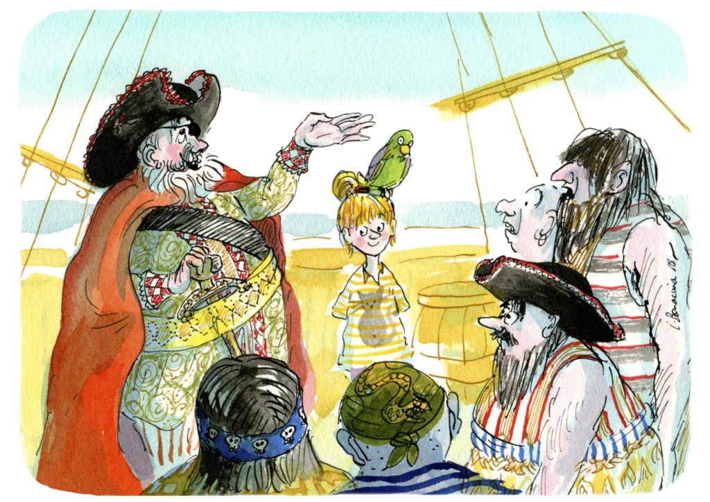 Une petite fille entouré d'un capitaine pirate et de ses matelots dans leur bateau.