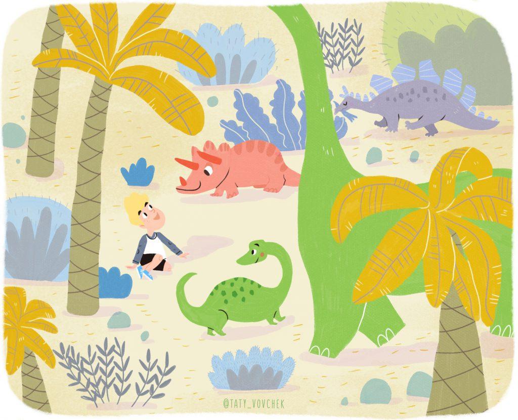 Petit garçon assis dans la forêt entouré de dinosaure de toutes les couleurs.