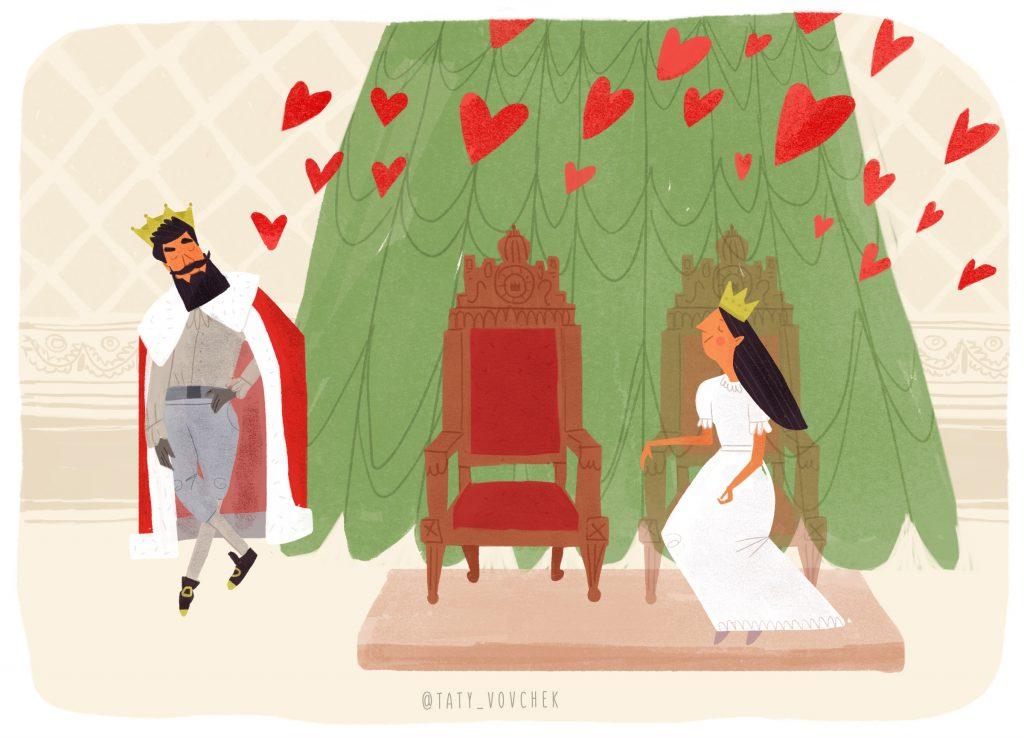 Deux thrones l'un à côté de l'autre. Le roi amoureux est debout à côté d'eux alors que la reine est assise sur l'un d'eux.